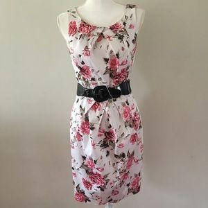 AGB  White & Pink Floral Dress w/Adjustable Belt